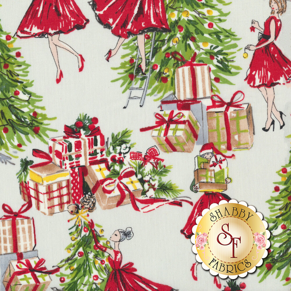 Vintage Christmas fabric with women in red dresses decorating Christmas trees on a grey background