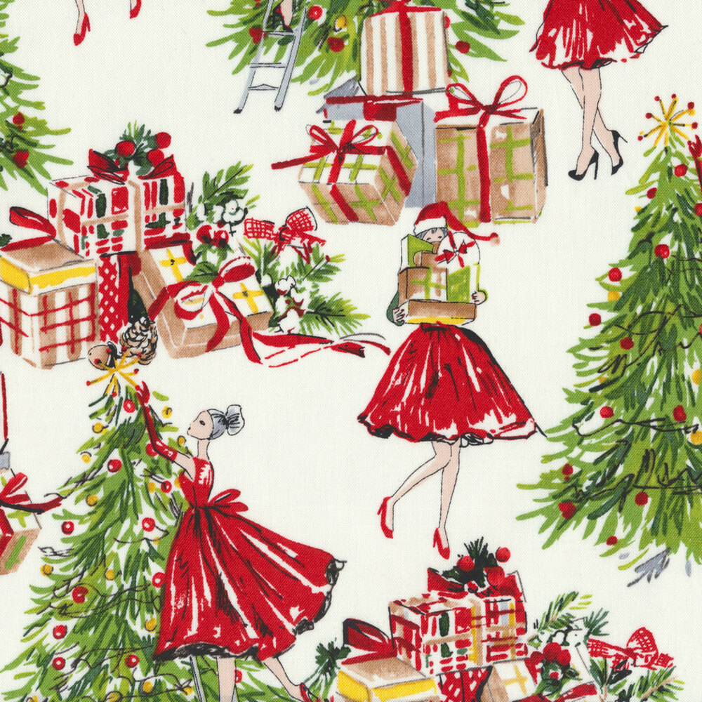 Women in red dresses carrying presents and decorating trees on a white background | Shabby Fabrics