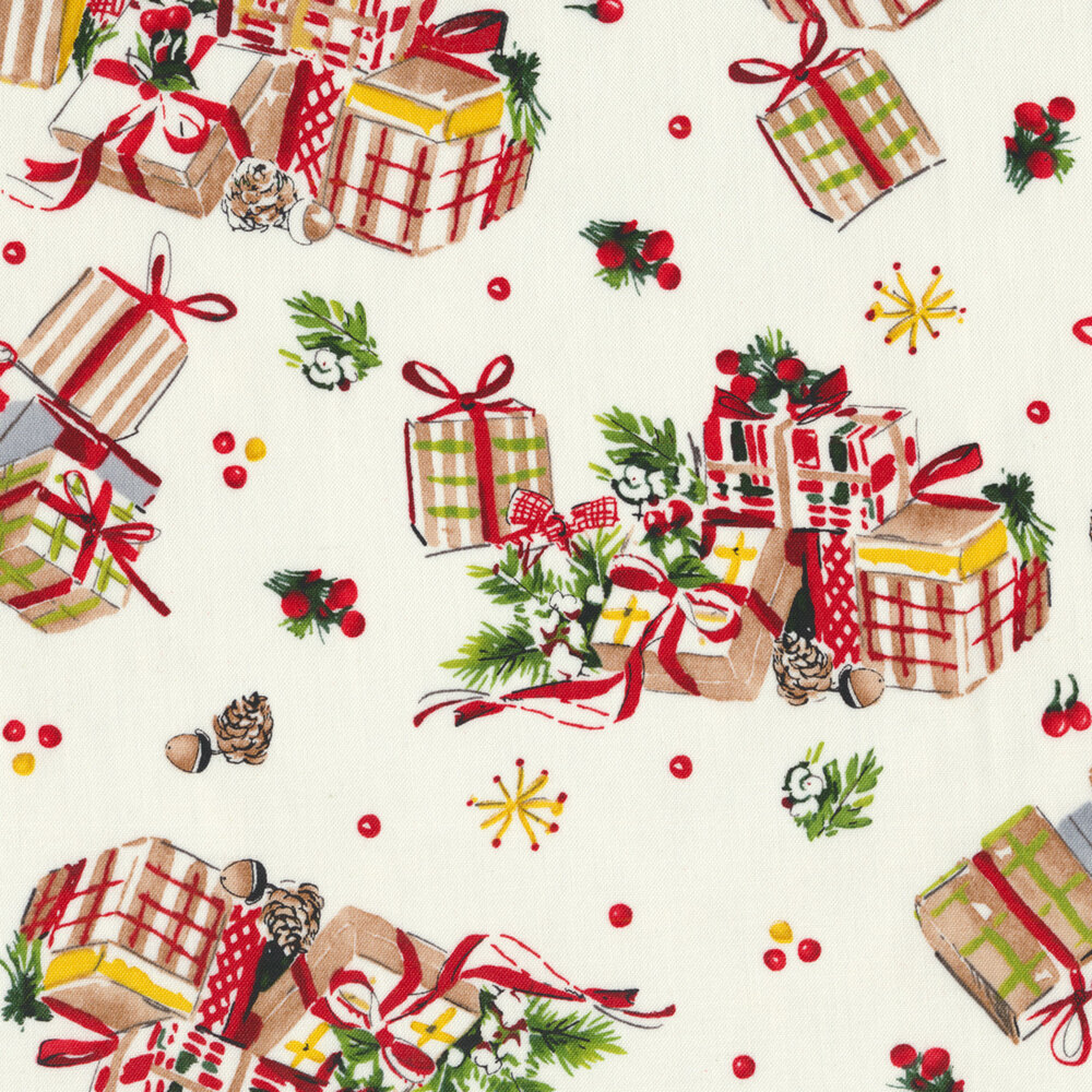 Piles of Christmas gifts and tossed presents on a white background | Shabby Fabrics