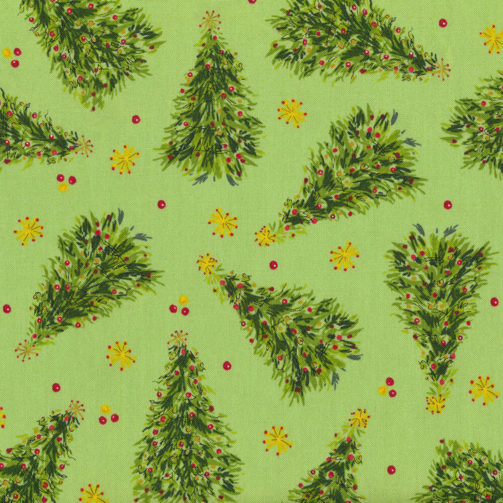 Tossed Christmas trees on a green background   Shabby Fabrics