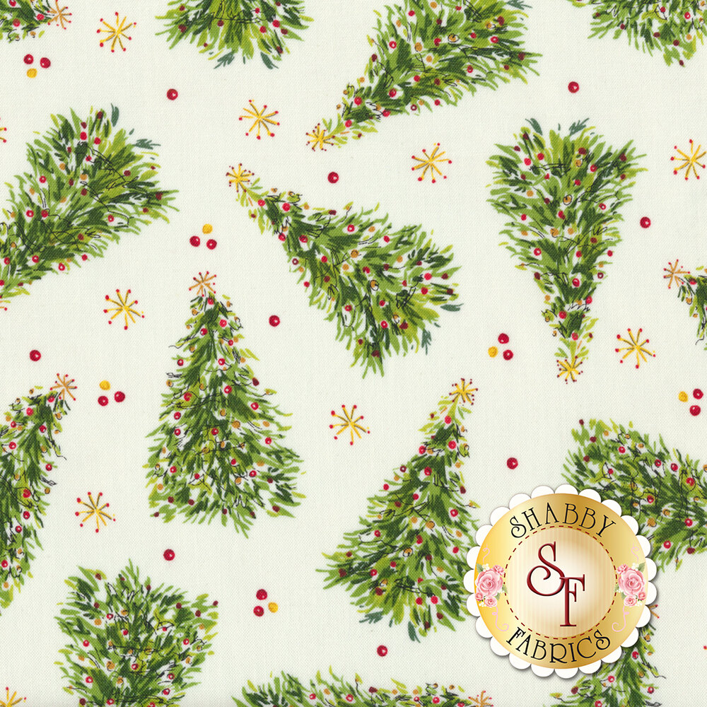 Tossed Christmas trees and stars on a white background | Shabby Fabrics