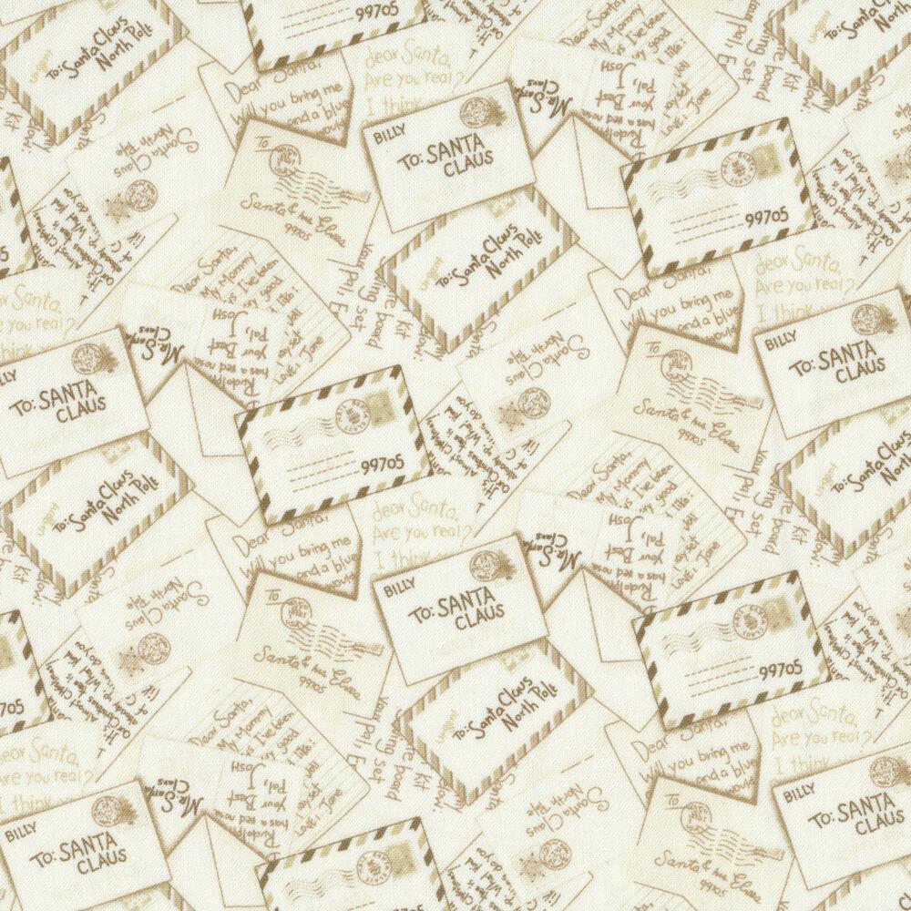Tan, tonal tossed envelopes addressed to Santa Claus | Shabby Fabrics