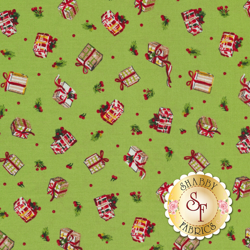 Tossed Christmas presents on a green background | Shabby Fabrics