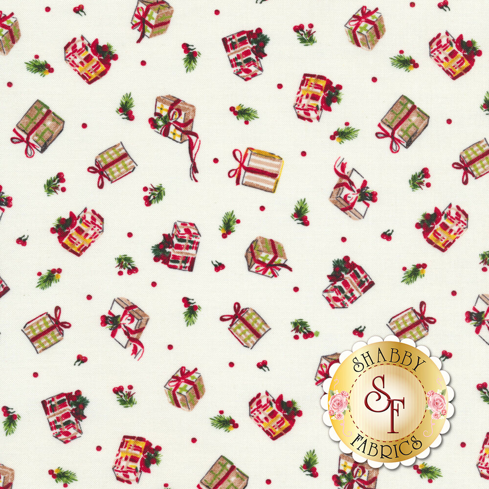 Tossed gifts and holly berries on a white background | Shabby Fabrics
