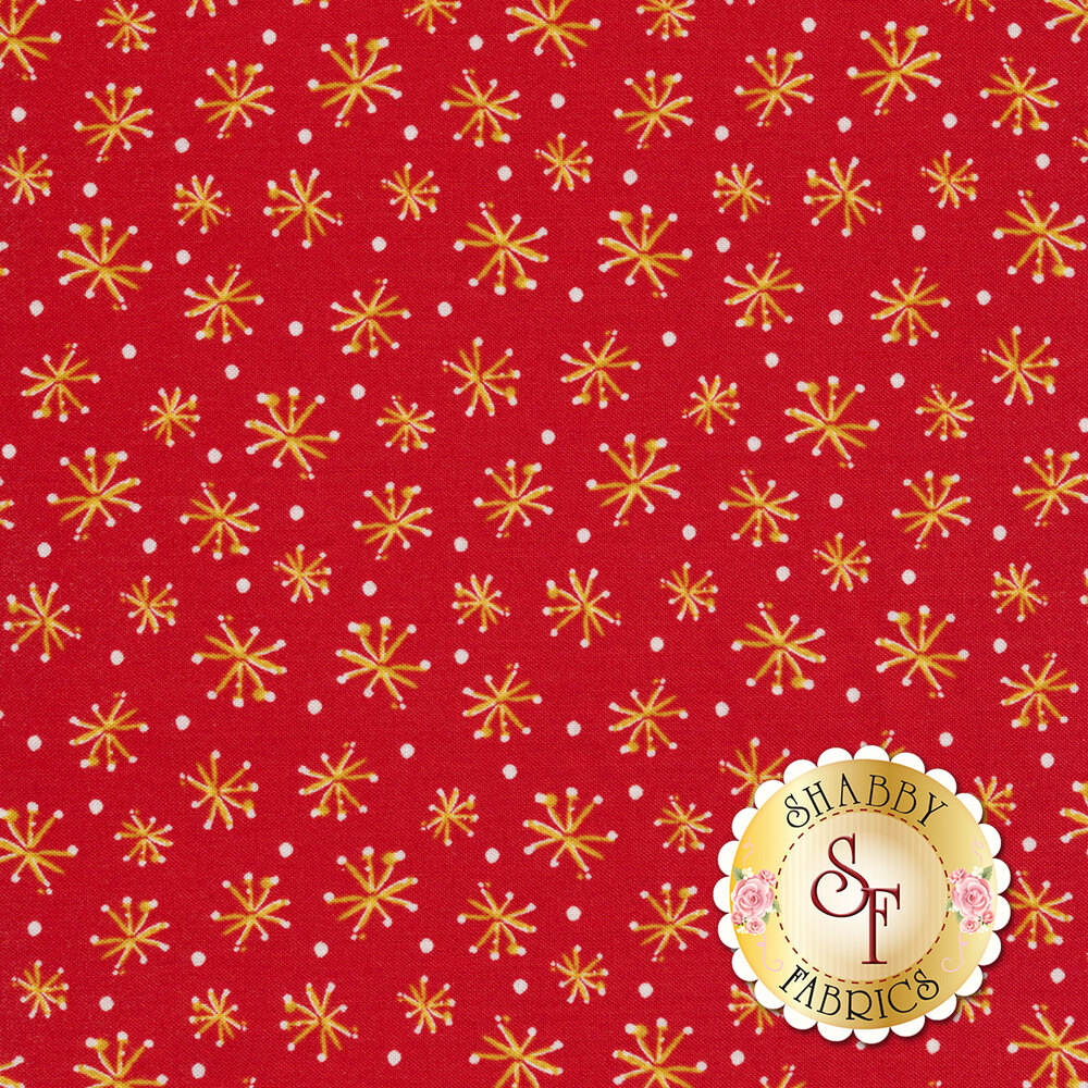 Tossed yellow stars and white dots on a red background | Shabby Fabrics