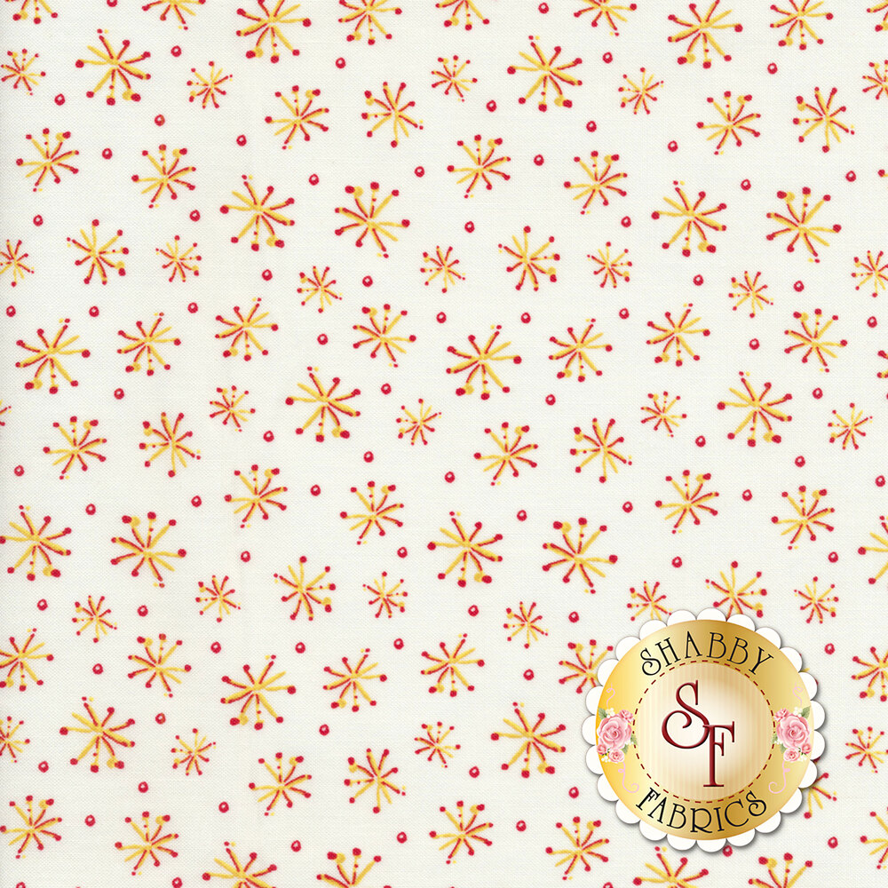 Tossed yellow stars and red dots on a white background | Shabby Fabrics