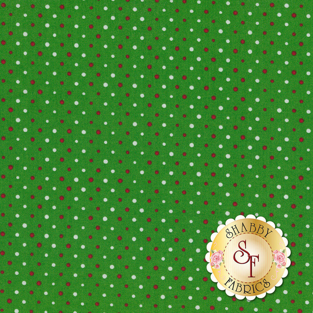 Red and white polka dots on a green background | Shabby Fabrics