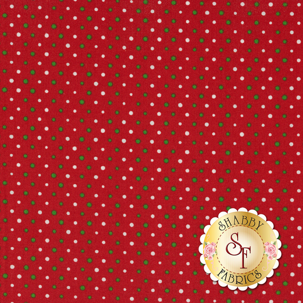 Green and white polka dots on a red background | Shabby Fabrics