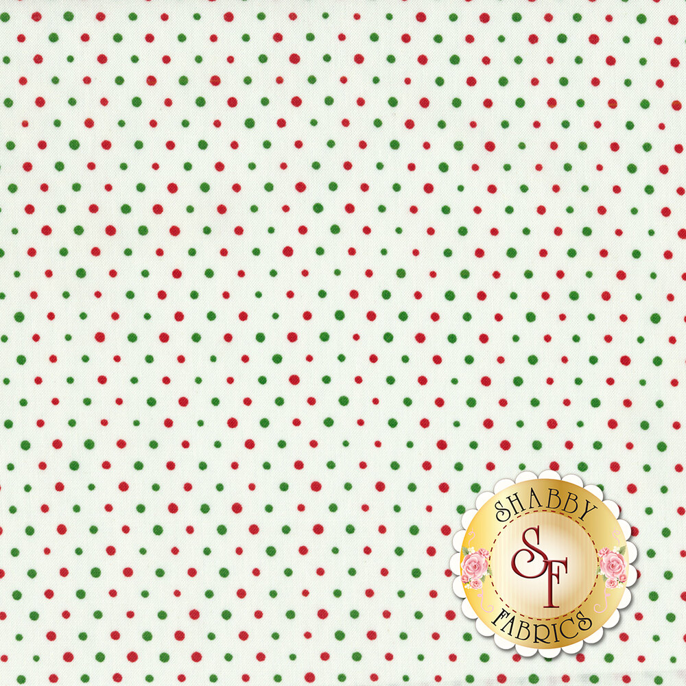 Green and red polka dots on a white background | Shabby Fabrics