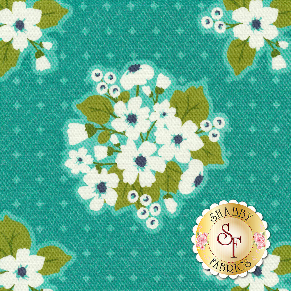 Large flower bunches on a teal background with small diamonds all over | Shabby Fabrics