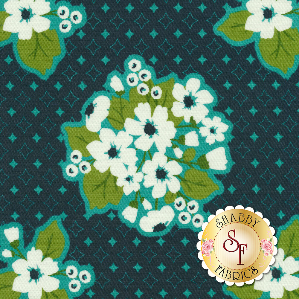 Large flower bunches on a dark blue background with diamonds all over | Shabby Fabrics