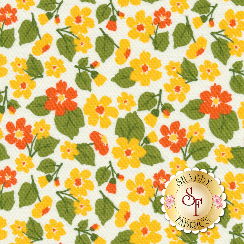 Tossed colorful flowers on a white background | Shabby Fabrics