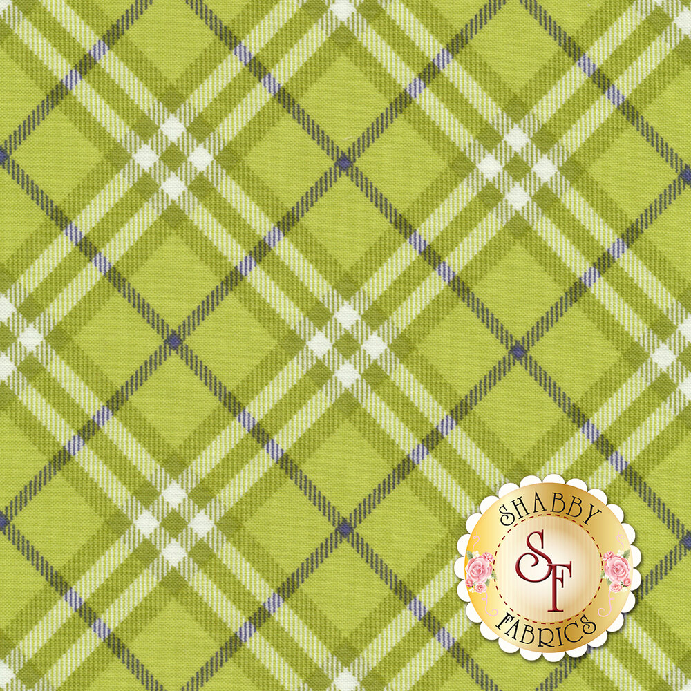 Green and white plaid with blue stripes | Shabby Fabrics