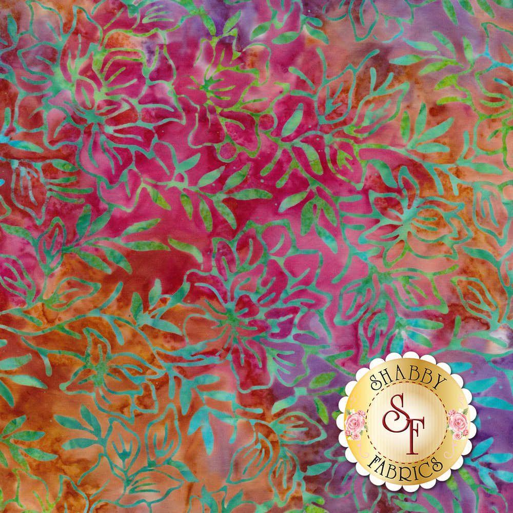 Teal and blue mottled leaves and vines on a mottled multi colored background | Shabby Fabrics