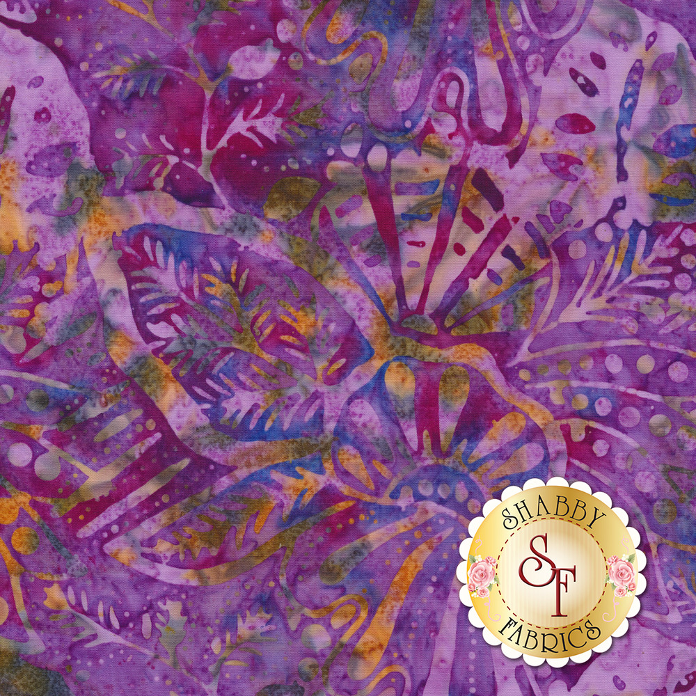 Outlines of flowers and vines on a marbled purple background   Shabby Fabrics