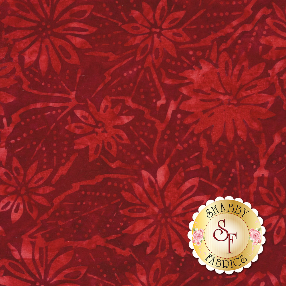 Tonal flowers and leaves on a dark red mottled background | Shabby Fabrics