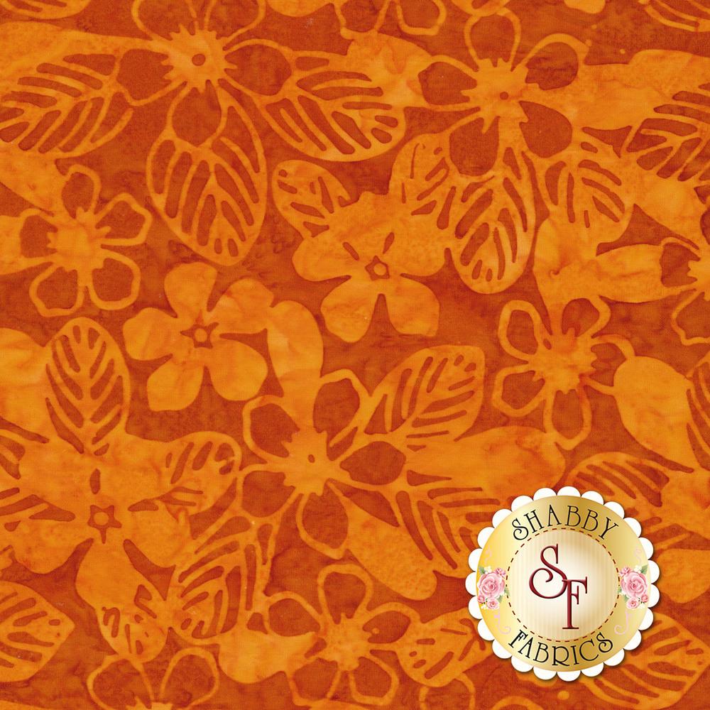 Tonal orange flowers on a marbled orange background | Shabby Fabrics