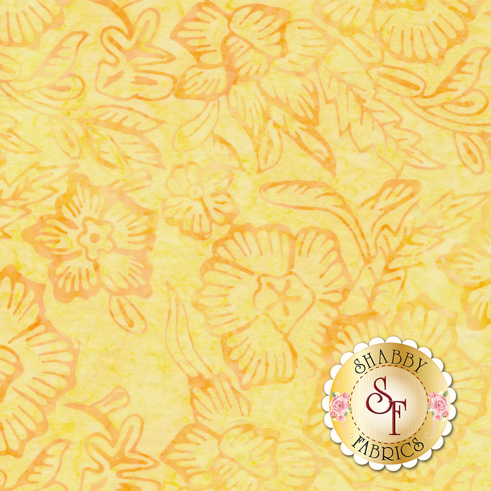 Dark brown outlines of flowers and leaves on a yellow background | Shabby Fabrics