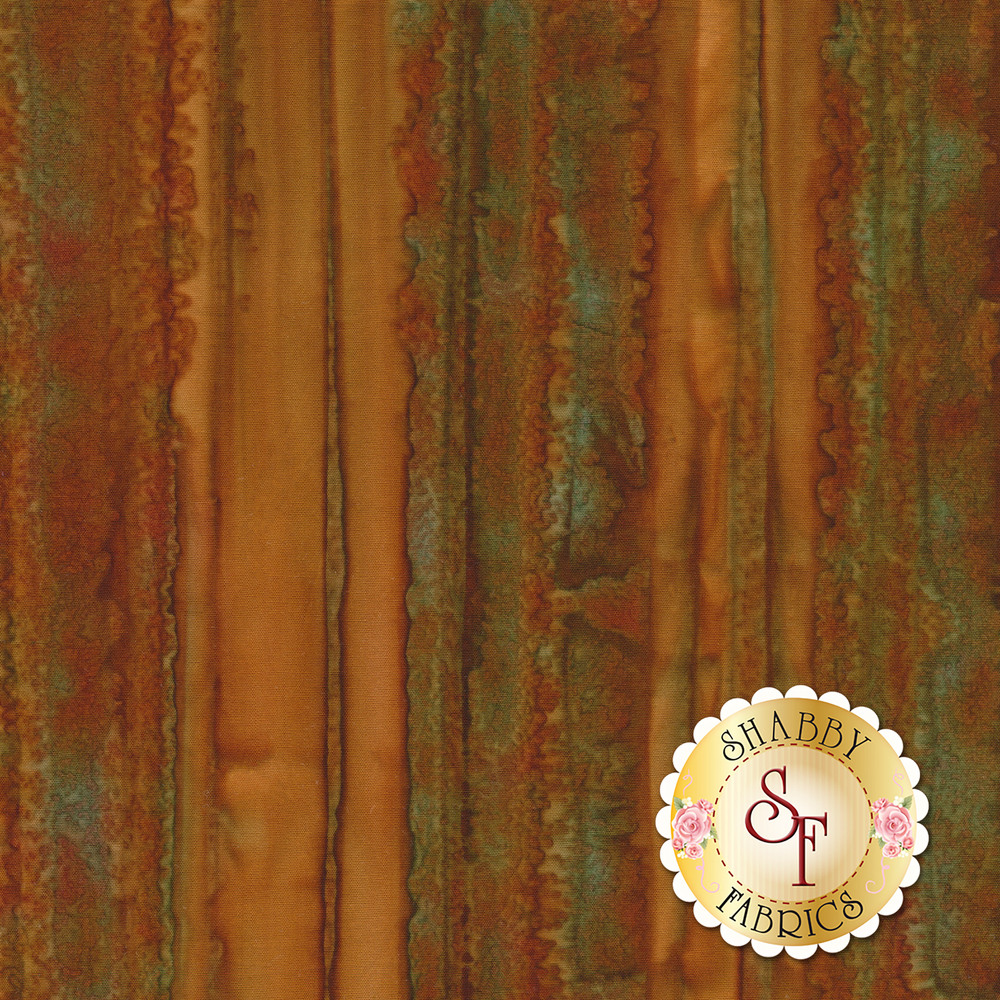 Brown and green striped fabric with marbling throughout | Shabby Fabrics