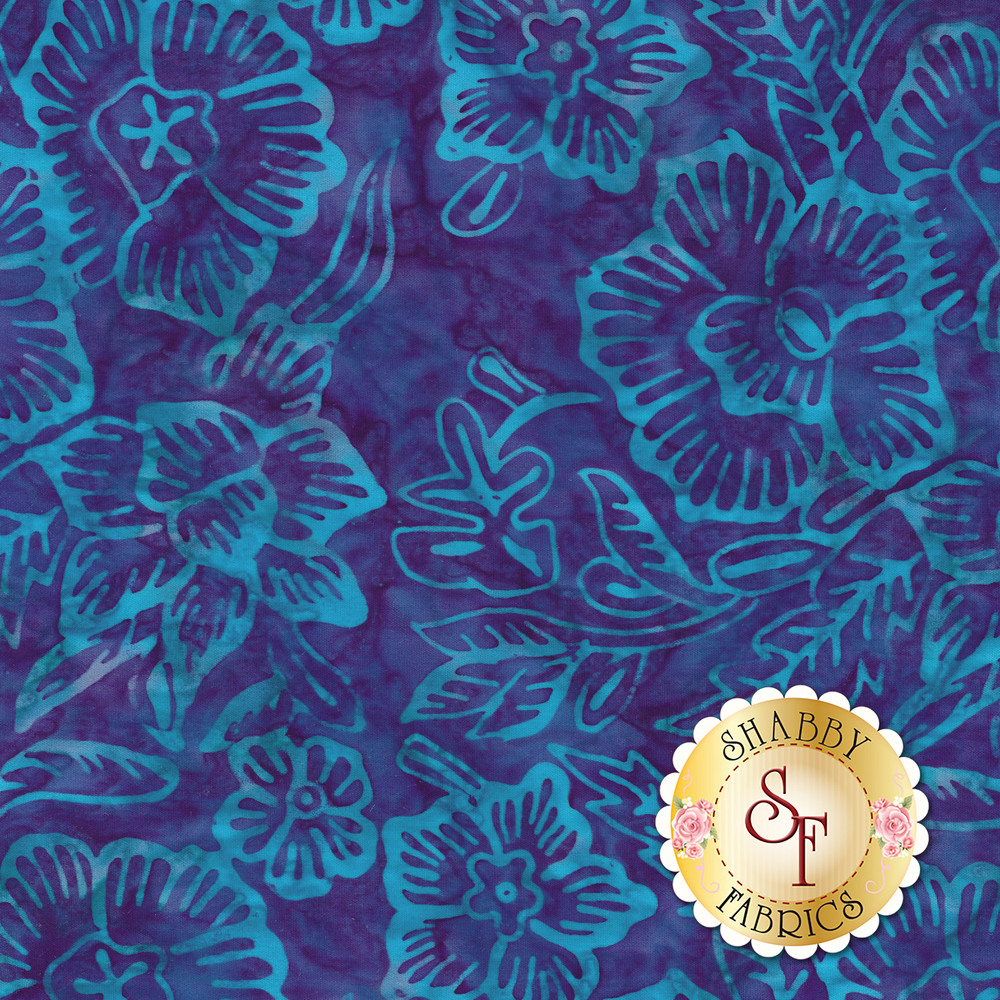 Bright blue outlines of flowers and vines on a dark blue marbled background | Shabby Fabrics
