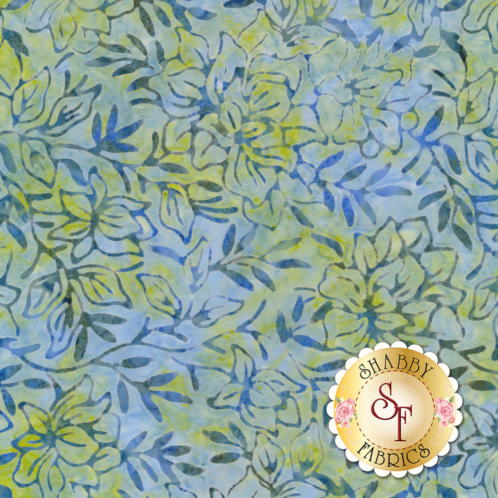 Outlines of leaves and vines on a light blue and green mottled background | Shabby Fabrics