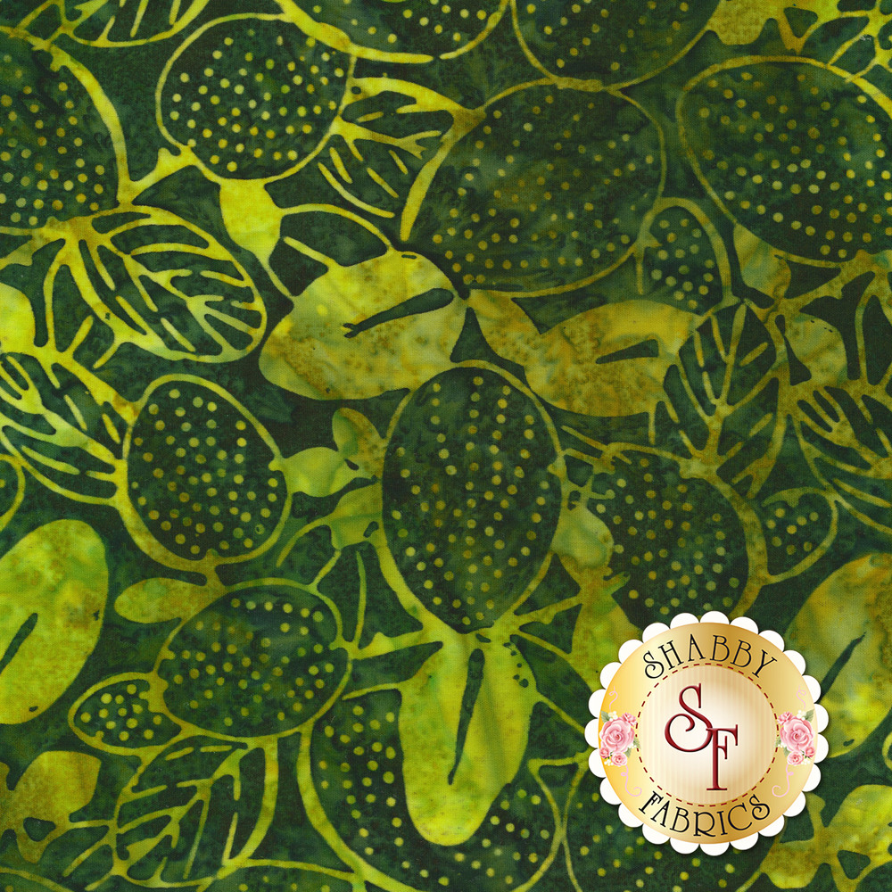 Tonal green leaves and vines on a dark green marbled background | Shabby Fabrics