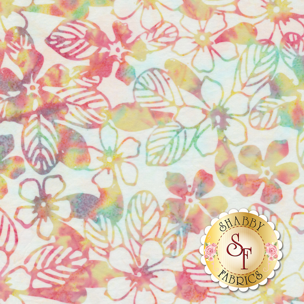 Multi colored marbled flowers and leaves on a white background | Shabby Fabrics