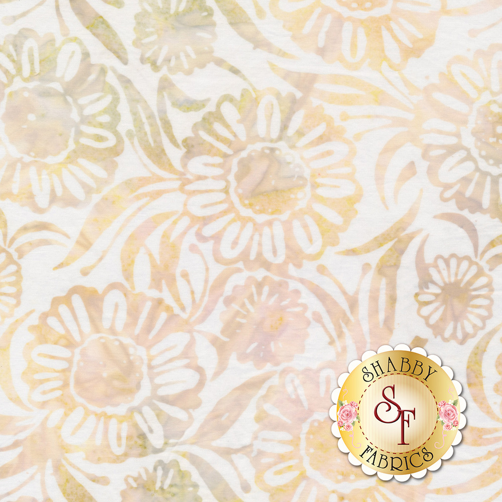 Light marbled floral outlines on a white background | Shabby Fabrics