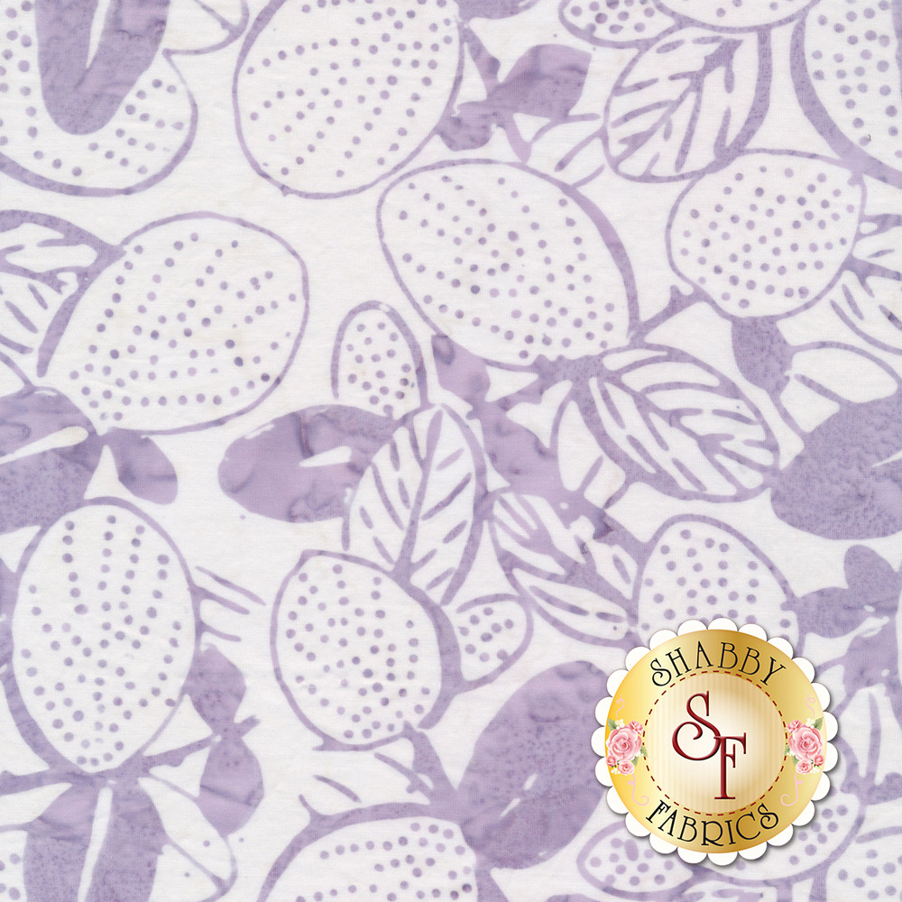 Marbled light purple flowers, leaves, and vines on a white background | Shabby Fabrics