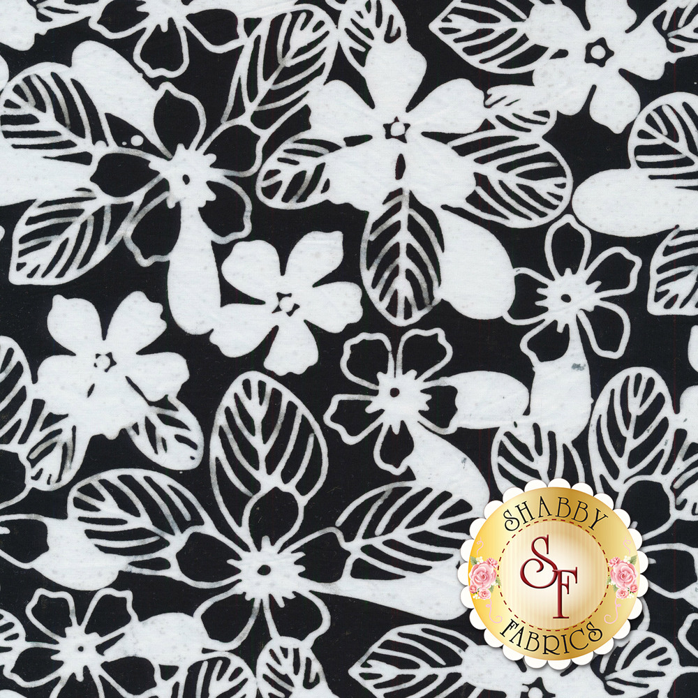 White outlines of flowers and leaves on a black background | Shabby Fabrics