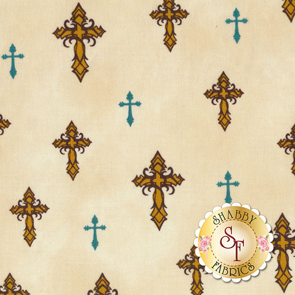 Amazing Grace 24030-E Cream Crosses by Kensington Studio for Quilting Treasures REM A