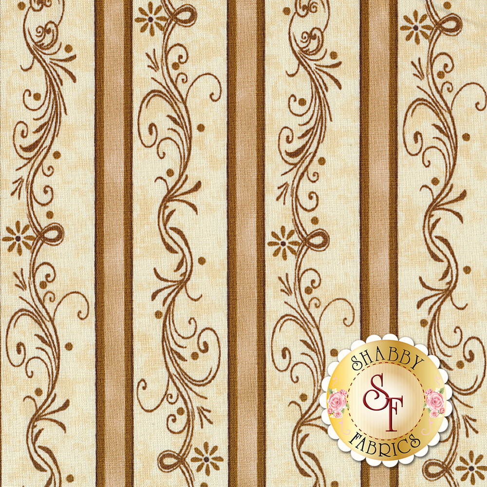 Elegant striped fabric with swirls and scrolls