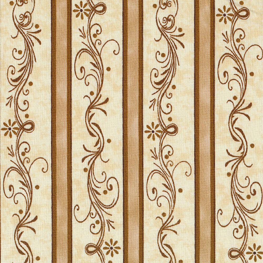 Elegant striped fabric with swirls and scrolls