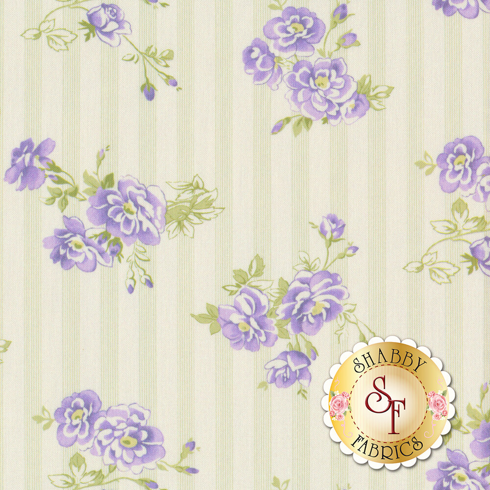 Amelie AMEL216-C Purple Flowers On Pin Stripe by P&B Textiles