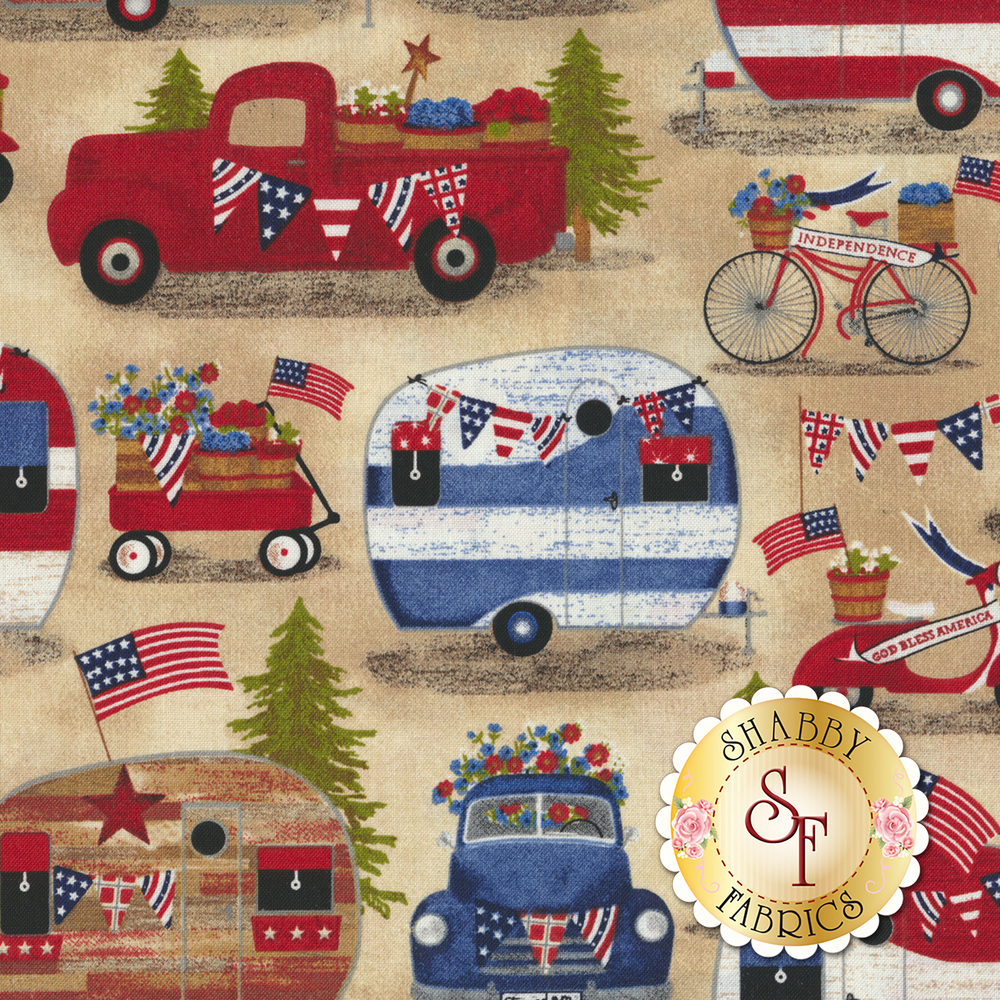 Scene with campers and trees with American flags | Shabby Fabrics