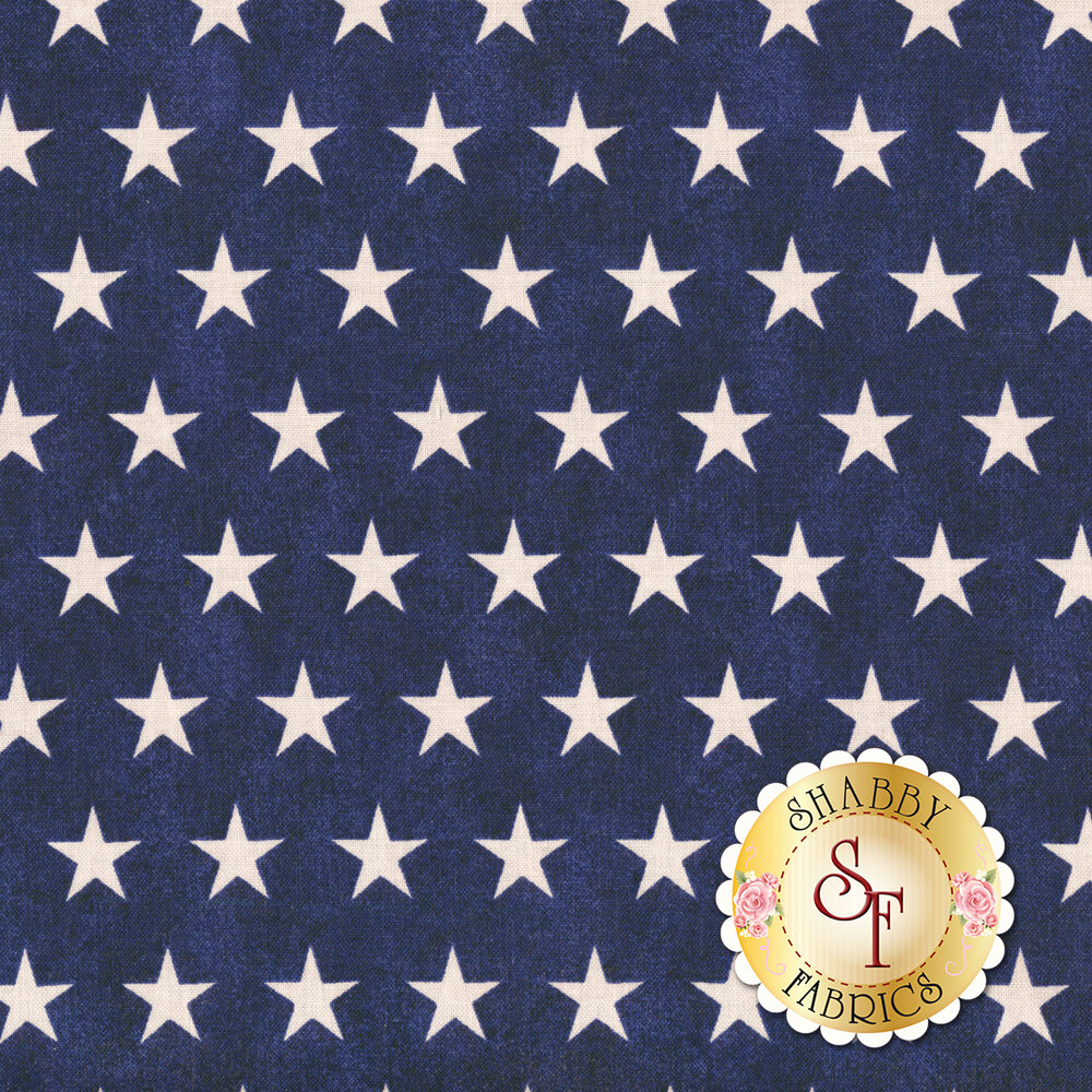 White stars all over a blue distressed background | Shabby Fabrics