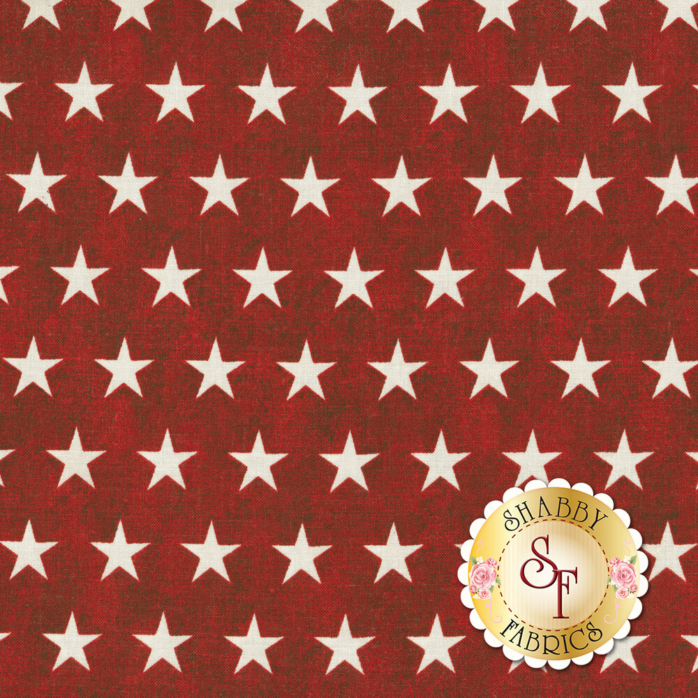 White stars all over a red distressed background | Shabby Fabrics