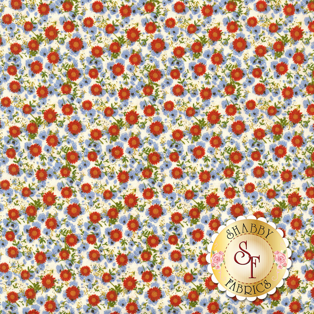 Red and blue flowers all over a white background | Shabby Fabrics