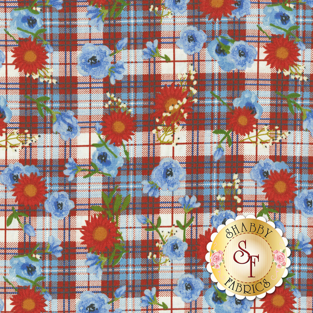 Red and blue flowers all over red and blue plaid | Shabby Fabrics