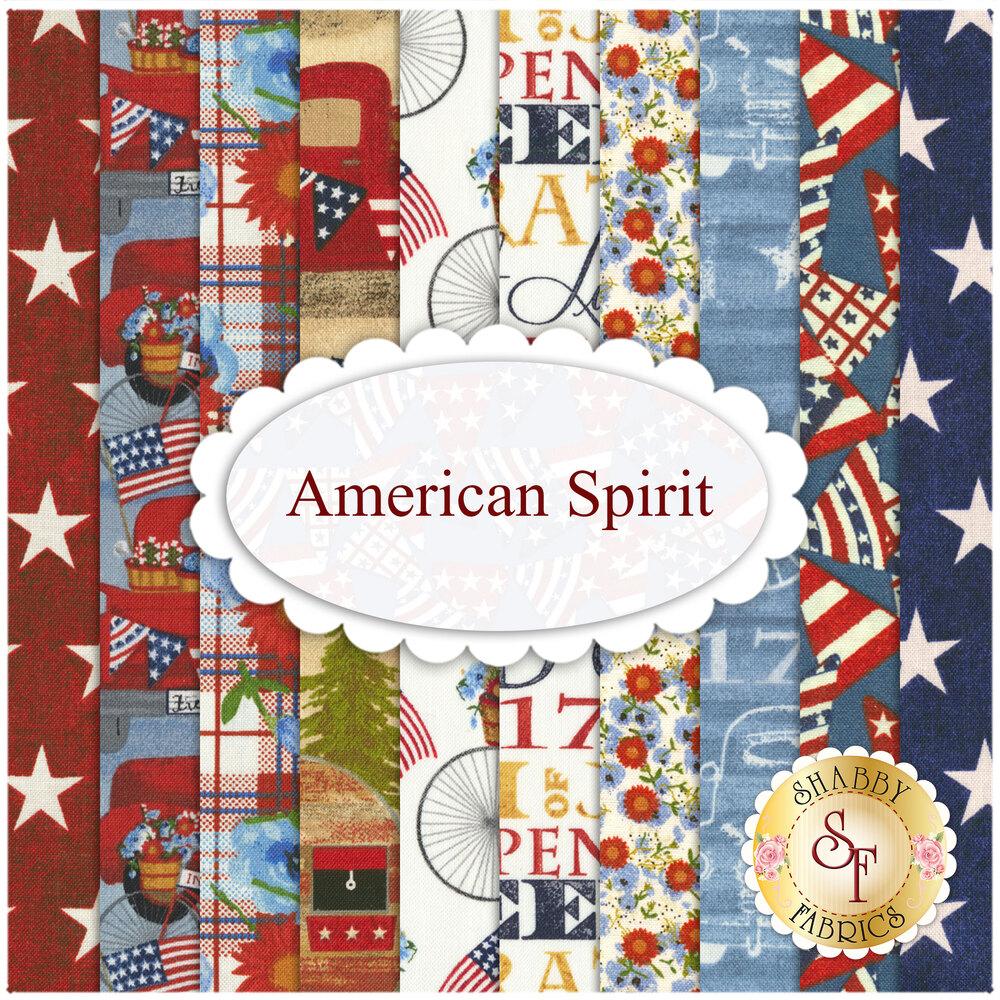 Collage of fabrics in American Spirit FQ Set   Shabby Fabrics