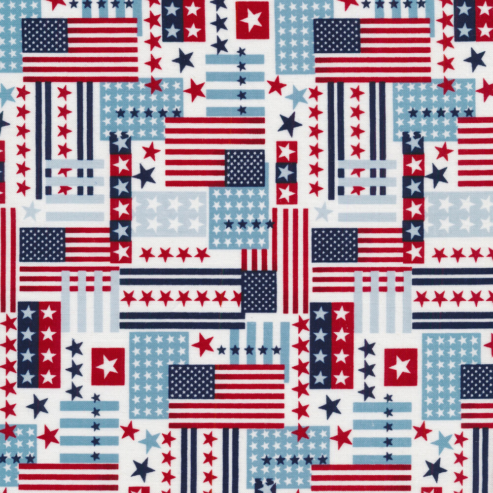 Flags and stars overlapping each other on white | Shabby Fabrics