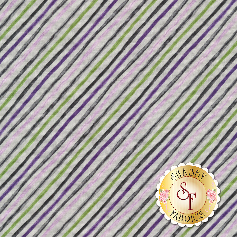 Diagonal stripe with purple and green | Shabby Fabrics