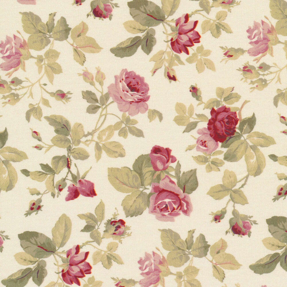 Beautiful tossed roses on a cream background | Shabby Fabrics