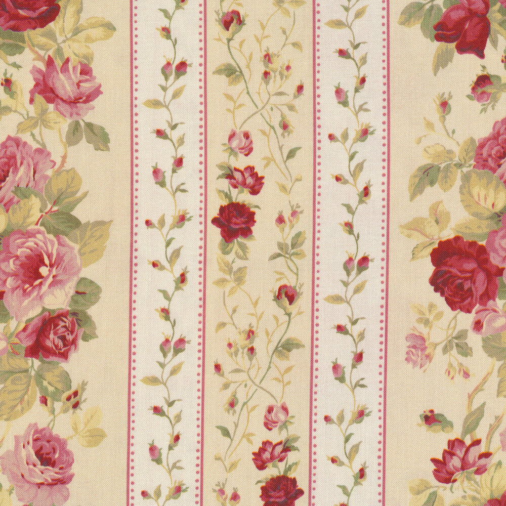 Striped roses and flowers on a white and cream alternating background | Shabby Fabrics