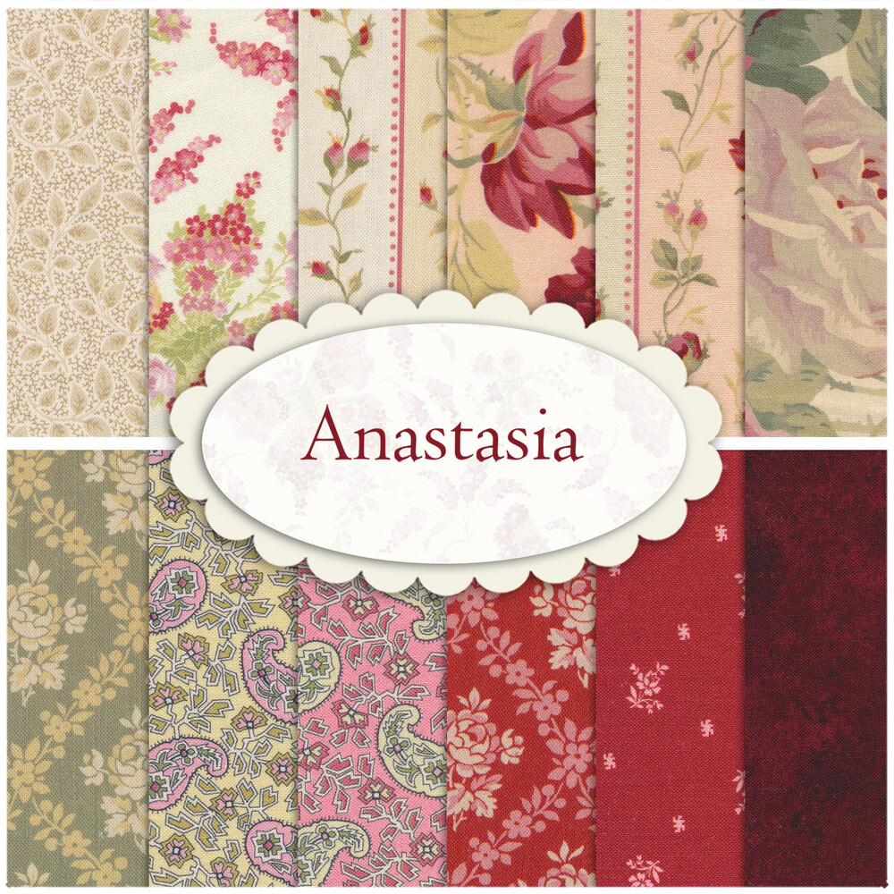 A collage of the fabrics included in the Anastasia collection | Shabby Fabrics