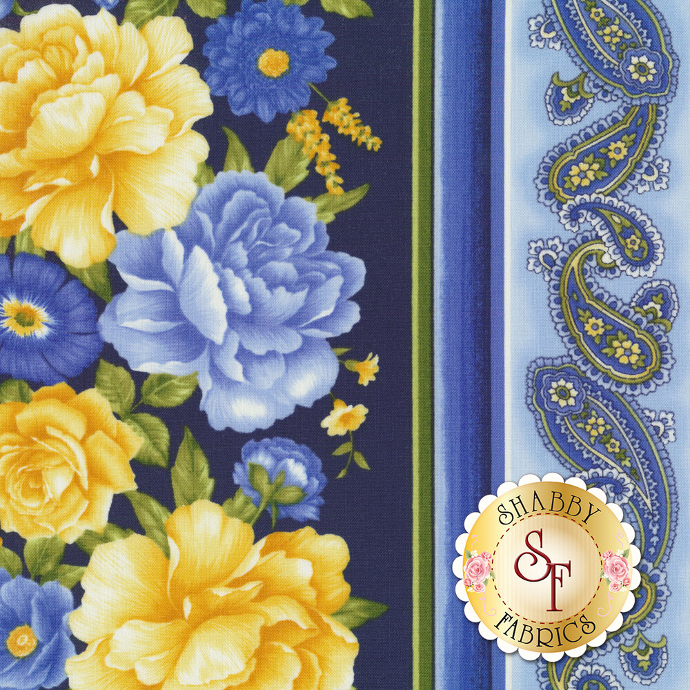 Angelica C6361-Navy Floral Stripe for Timeless Treasures Fabrics