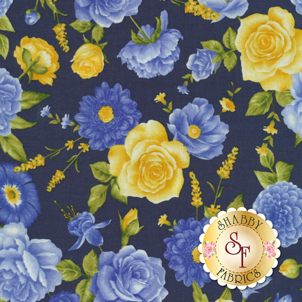 Angelica C6600-Midnight Allover Flowers for Timeless Treasures Fabrics