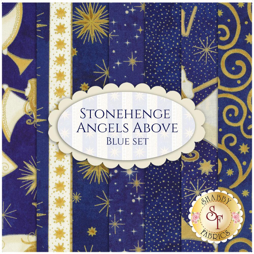 Collage of fabrics in Stonehenge Angels Above Blue FQ Set   Shabby Fabrics