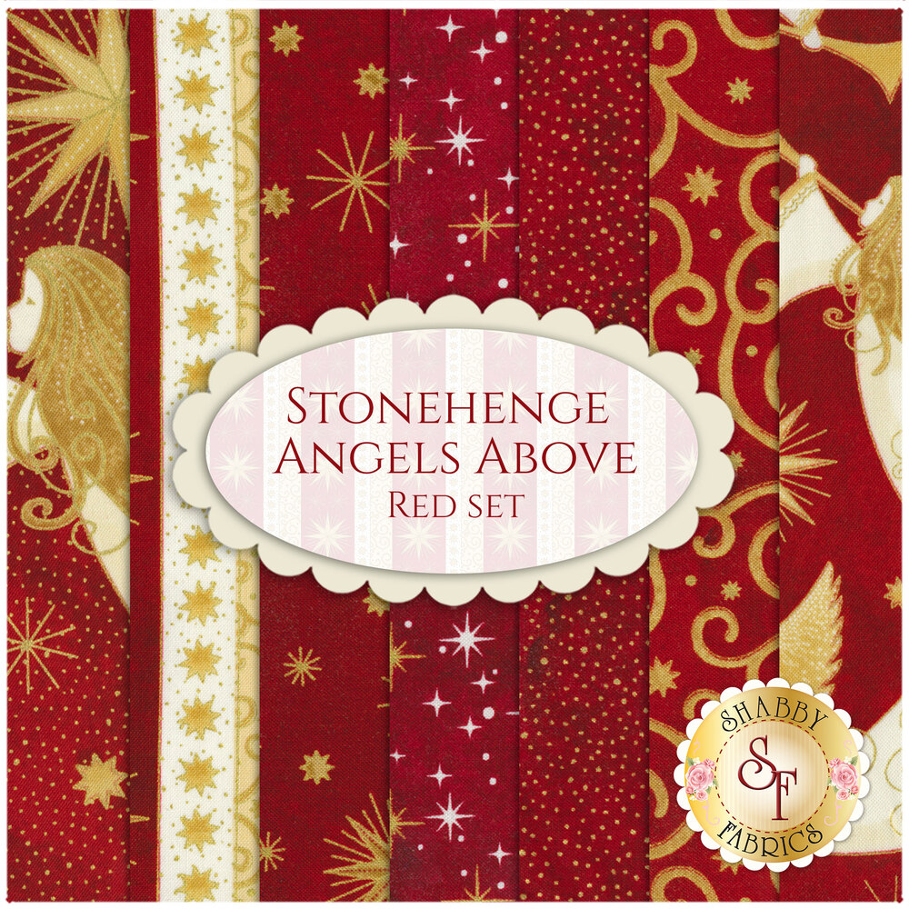 Collage of fabrics in Stonehenge Angels Above Red FQ Set | Shabby Fabrics