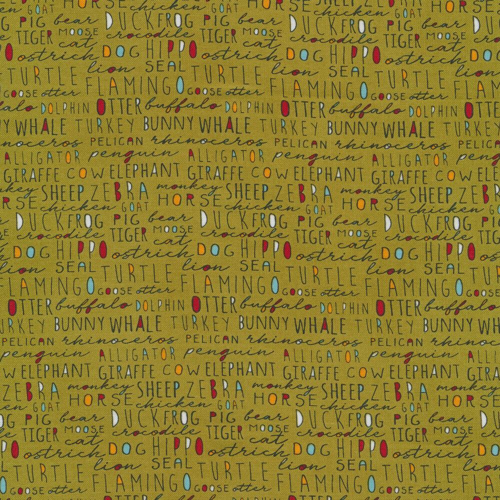 Multicolored words on green   Shabby Fabrics